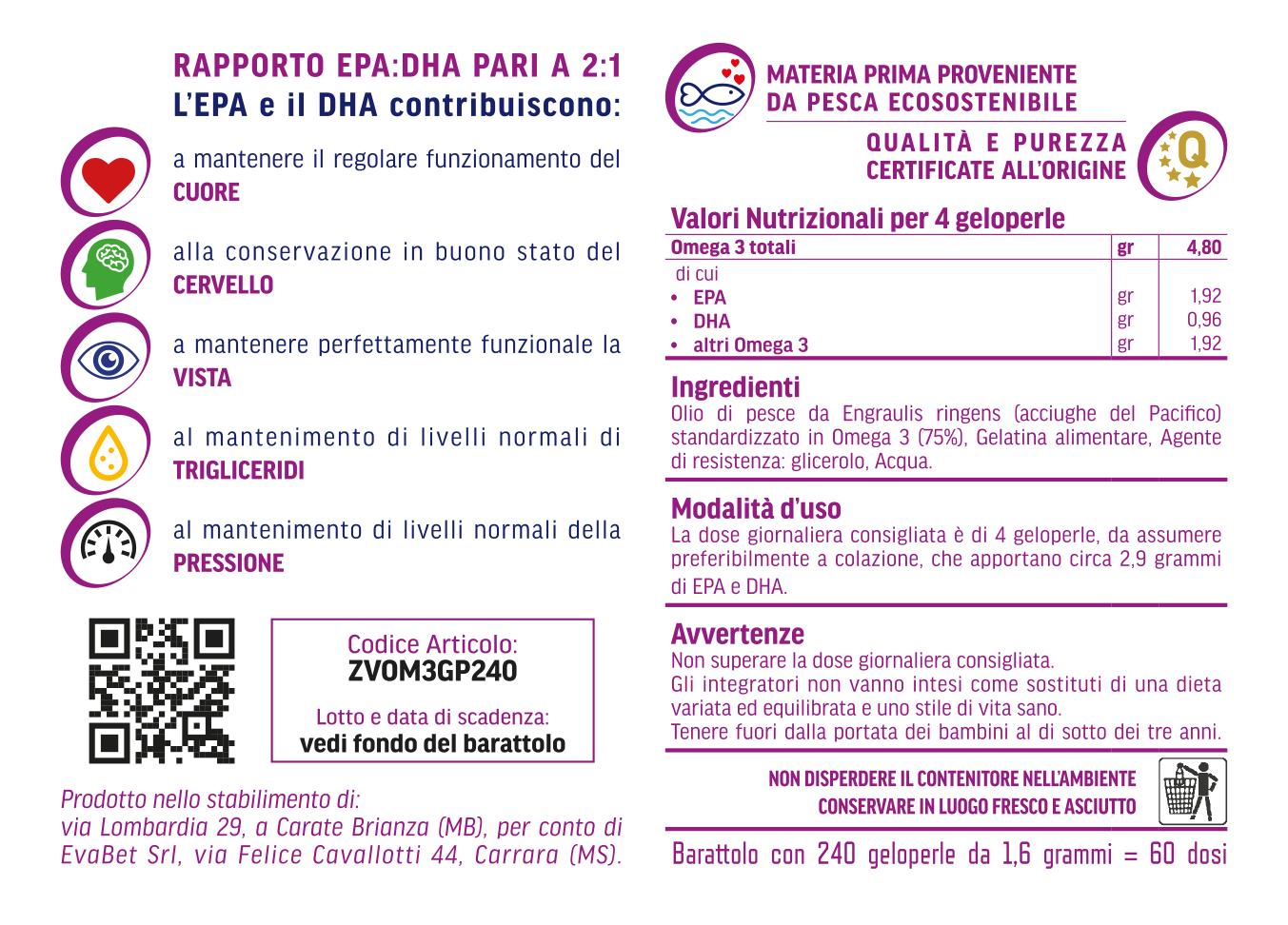 Omega3 EPA e DHA Informazioni Nutrizionali